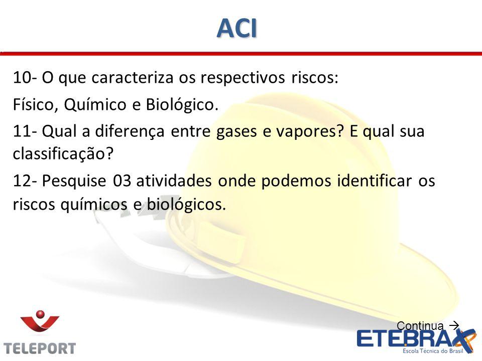 ACI 10- O que caracteriza os respectivos riscos: Físico, Químico e Biológico. 11- Qual a diferença entre gases e vapores? E qual sua classificação? 12