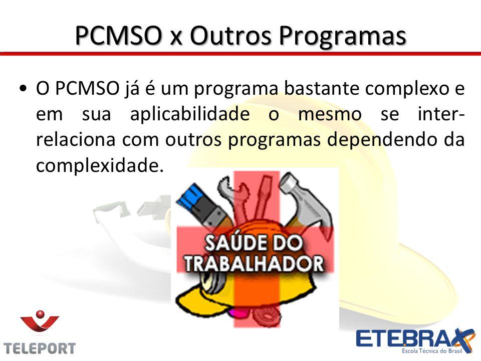 PCMSO x Outros Programas O PCMSO já é um programa bastante complexo e em sua aplicabilidade o mesmo se inter- relaciona com outros programas dependend