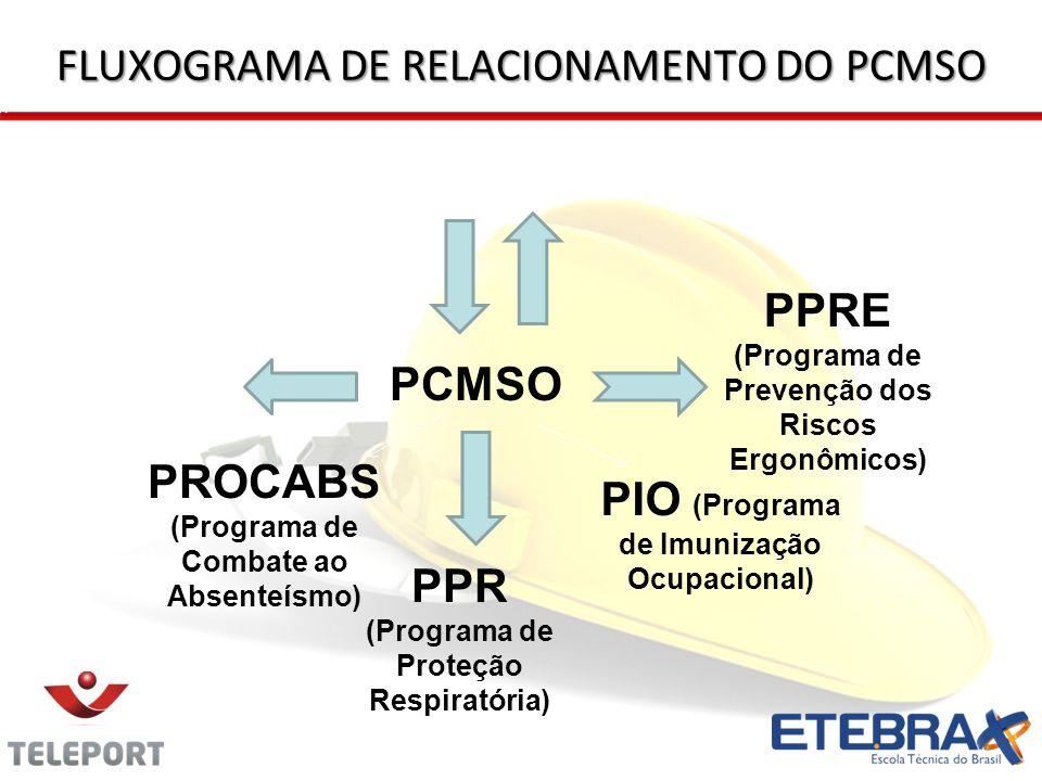 FLUXOGRAMA DE RELACIONAMENTO DO PCMSO PCMSO PPRA PPRE (Programa de Prevenção dos Riscos Ergonômicos) PPR (Programa de Proteção Respiratória) PCA (Prog