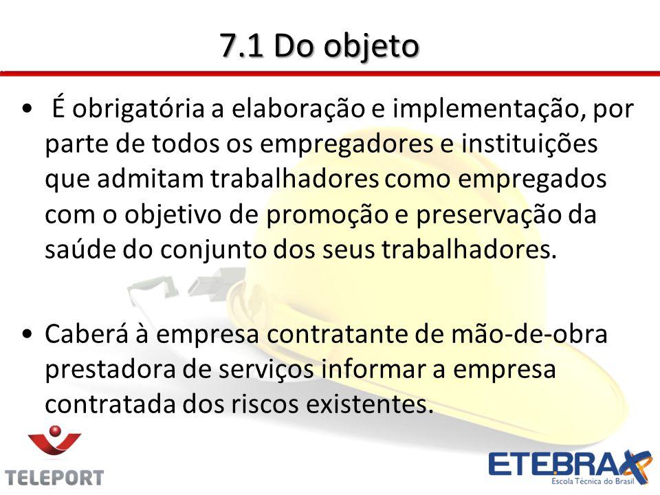 7.1 Do objeto É obrigatória a elaboração e implementação, por parte de todos os empregadores e instituições que admitam trabalhadores como empregados