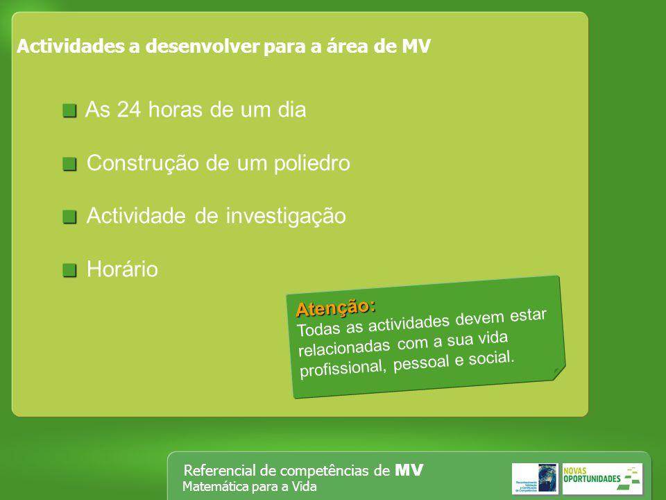 Referencial de competências de MV Matemática para a Vida Actividades a desenvolver para a área de MV As 24 horas de um dia Construção de um poliedro A