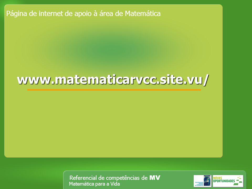 Referencial de competências de MV Matemática para a Vida Página de internet de apoio à área de Matemática wwww wwww wwww.... mmmm aaaa tttt eeee mmmm