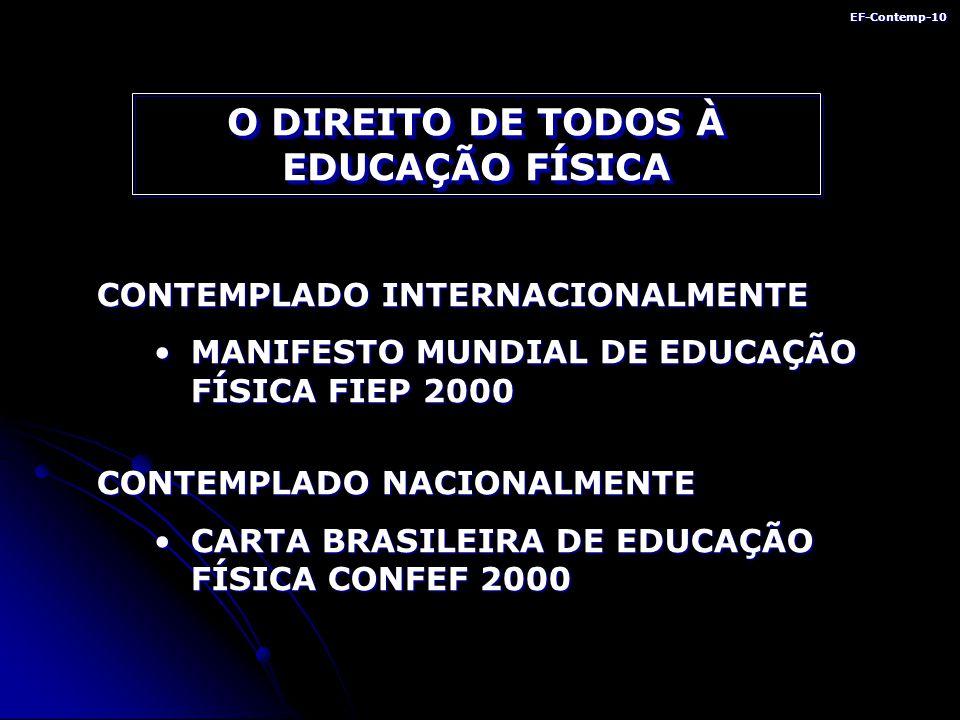 EF-Contemp-10 O DIREITO DE TODOS À EDUCAÇÃO FÍSICA CONTEMPLADO INTERNACIONALMENTE MANIFESTO MUNDIAL DE EDUCAÇÃO FÍSICA FIEP 2000MANIFESTO MUNDIAL DE EDUCAÇÃO FÍSICA FIEP 2000 CONTEMPLADO NACIONALMENTE CARTA BRASILEIRA DE EDUCAÇÃO FÍSICA CONFEF 2000CARTA BRASILEIRA DE EDUCAÇÃO FÍSICA CONFEF 2000