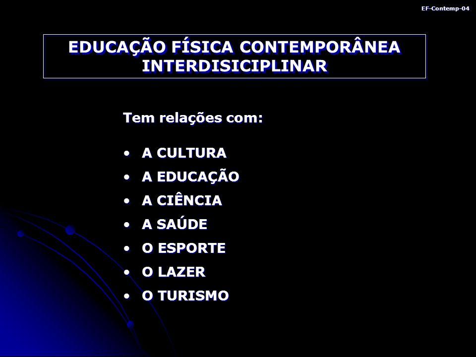 EF-Contemp-04 EDUCAÇÃO FÍSICA CONTEMPORÂNEA INTERDISICIPLINAR Tem relações com: A CULTURAA CULTURA A EDUCAÇÃOA EDUCAÇÃO A CIÊNCIAA CIÊNCIA A SAÚDEA SAÚDE O ESPORTEO ESPORTE O LAZERO LAZER O TURISMOO TURISMO