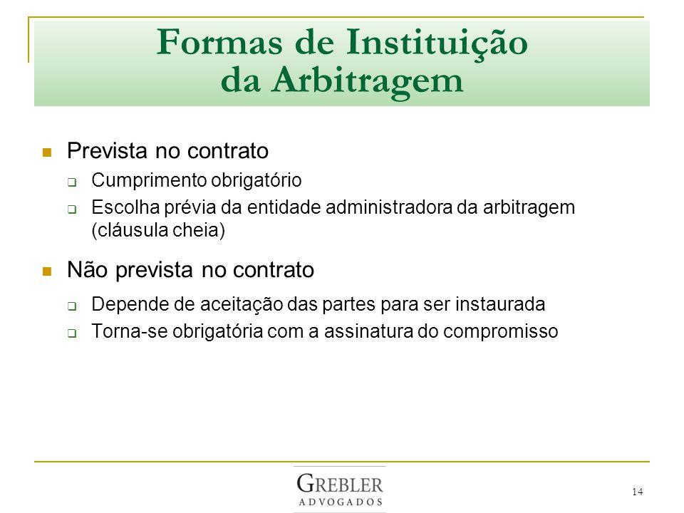 15 Convenção de Arbitragem Modelo de cláusula arbitral (convenção de arbitragem, cláusula compromissória) Qualquer litígio emergente do presente contrato ou com ele relacionado será definitivamente resolvido por arbitragem, de acordo com o Regulamento de Arbitragem da [nome da instituição], por um ou mais árbitros nomeados nos termos desse Regulamento.
