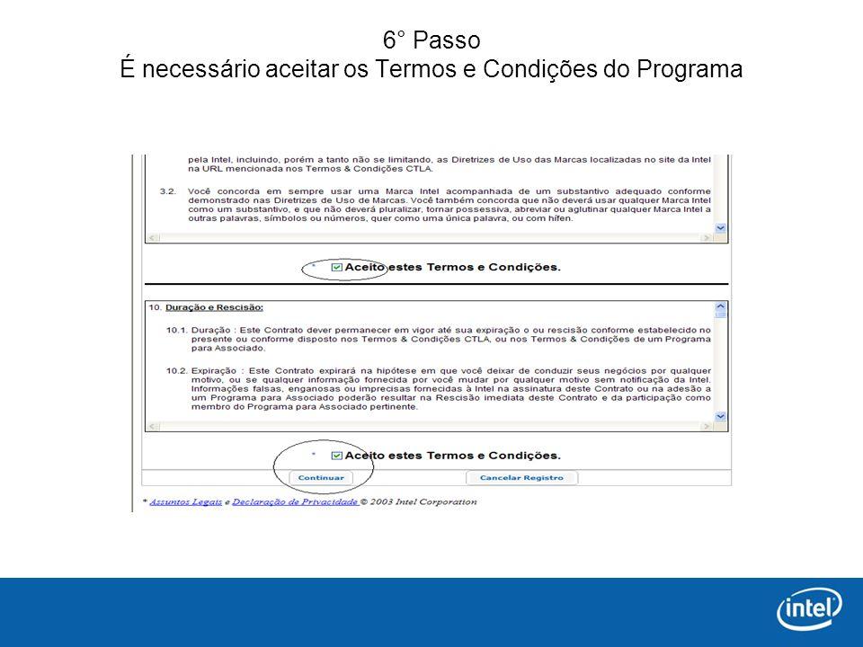 6° Passo É necessário aceitar os Termos e Condições do Programa
