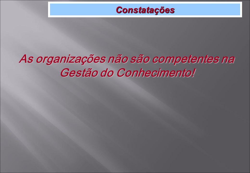 Constatações As organizações não são competentes na Gestão do Conhecimento!