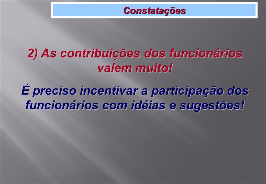 Constatações 2) As contribuições dos funcionários valem muito.