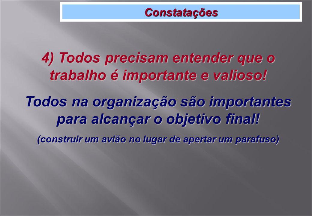 Constatações 4) Todos precisam entender que o trabalho é importante e valioso.