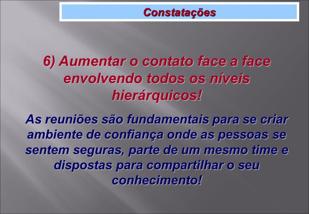 Constatações 6) Aumentar o contato face a face envolvendo todos os níveis hierárquicos.
