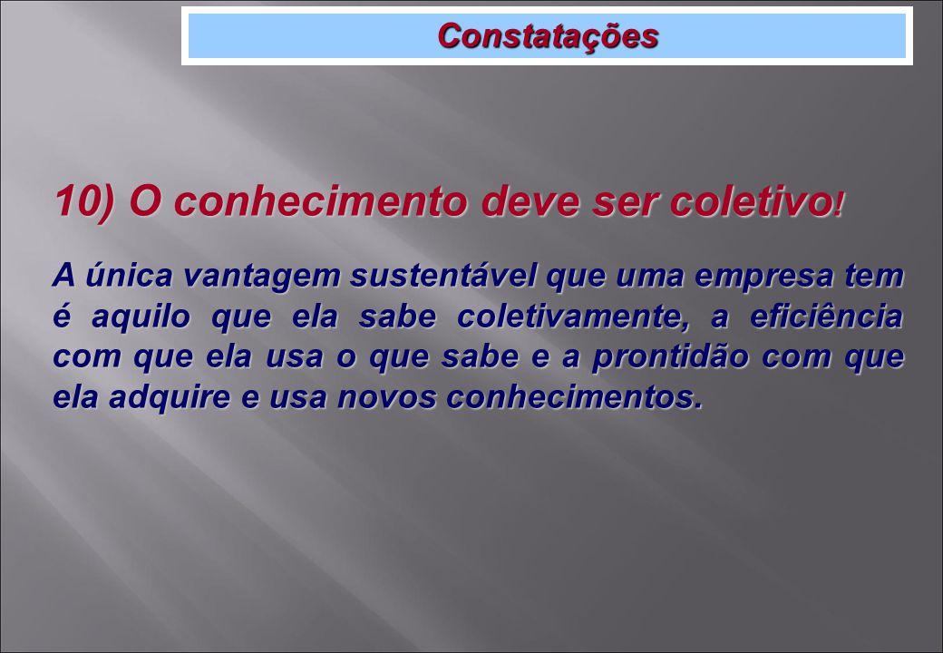 Constatações 10) O conhecimento deve ser coletivo .