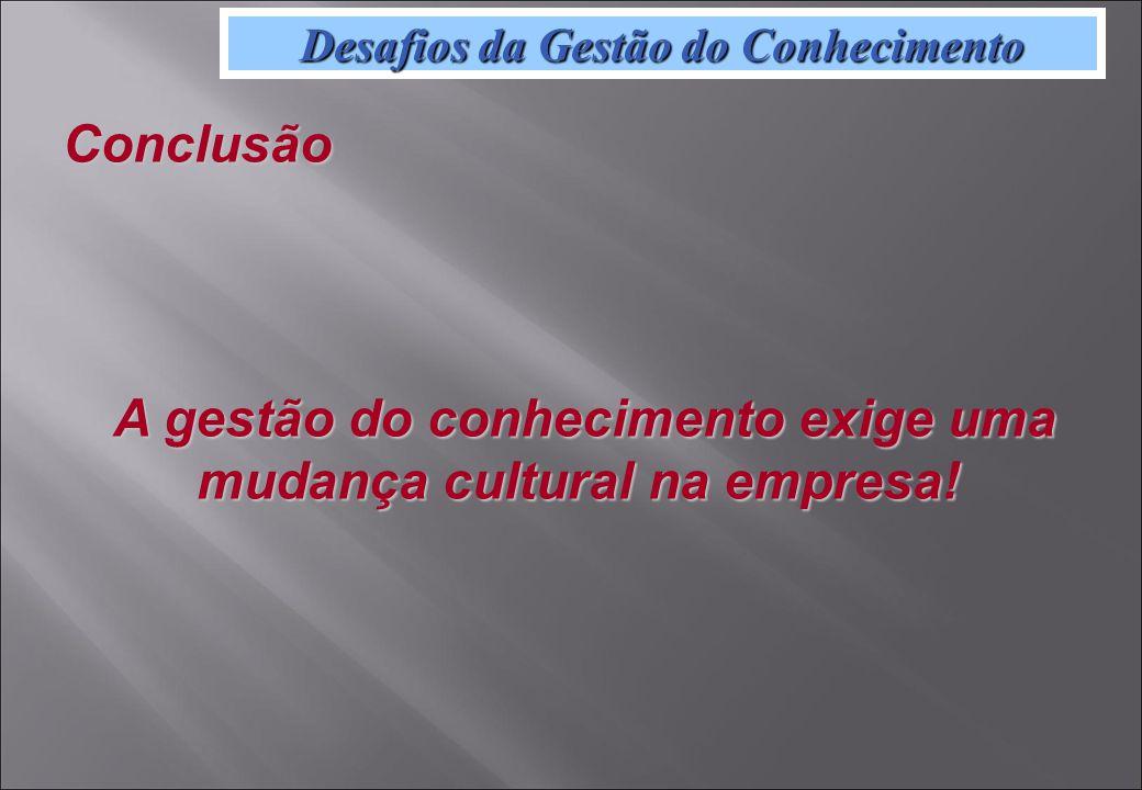Desafios da Gestão do Conhecimento Conclusão A gestão do conhecimento exige uma mudança cultural na empresa.
