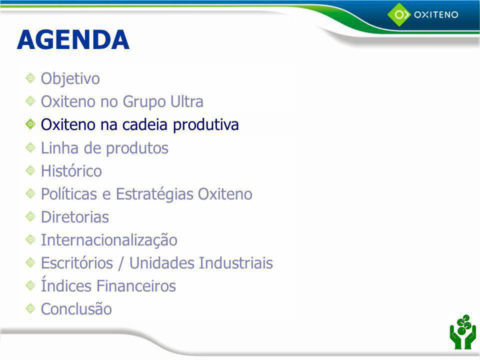 Oxiteno na Cadeia Produtiva Refinaria Craqueamento Oxiteno Produto Final Consumidor Caso MEG – PET (Camaçari) MEG Nafta Eteno