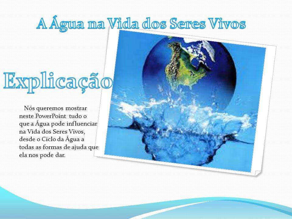 Nós queremos mostrar neste PowerPoint tudo o que a Água pode influenciar na Vida dos Seres Vivos, desde o Ciclo da Água a todas as formas de ajuda que