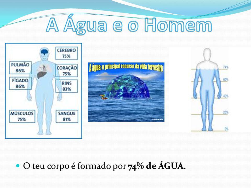 O teu corpo é formado por 74% de ÁGUA.
