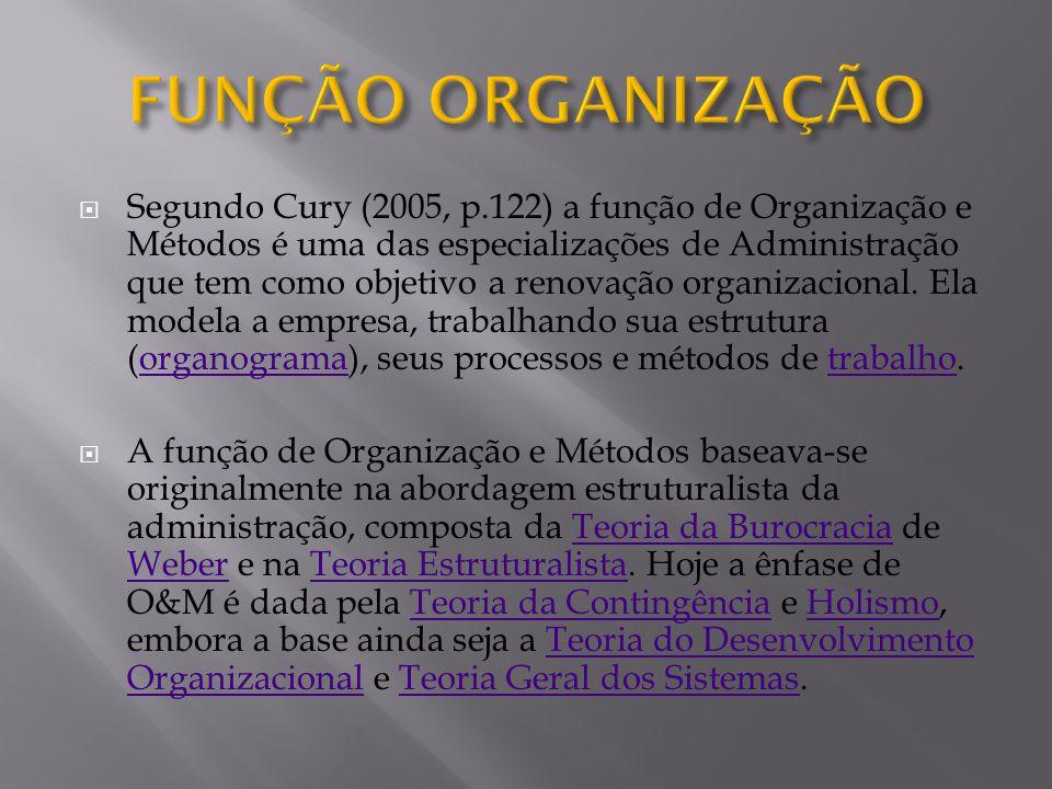 Segundo Cury (2005, p.122) a função de Organização e Métodos é uma das especializações de Administração que tem como objetivo a renovação organizacion