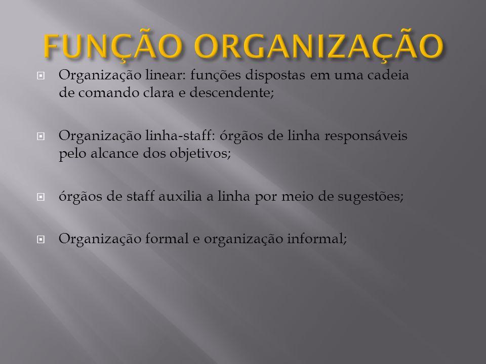 Organização linear: funções dispostas em uma cadeia de comando clara e descendente; Organização linha-staff: órgãos de linha responsáveis pelo alcance