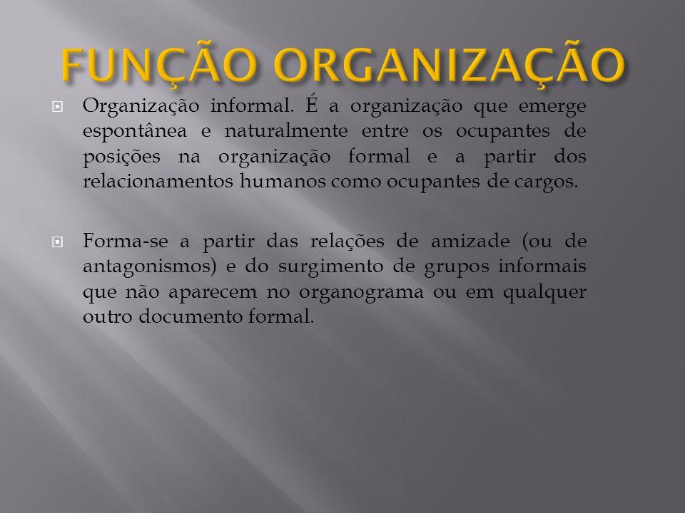 Organização informal. É a organização que emerge espontânea e naturalmente entre os ocupantes de posições na organização formal e a partir dos relacio