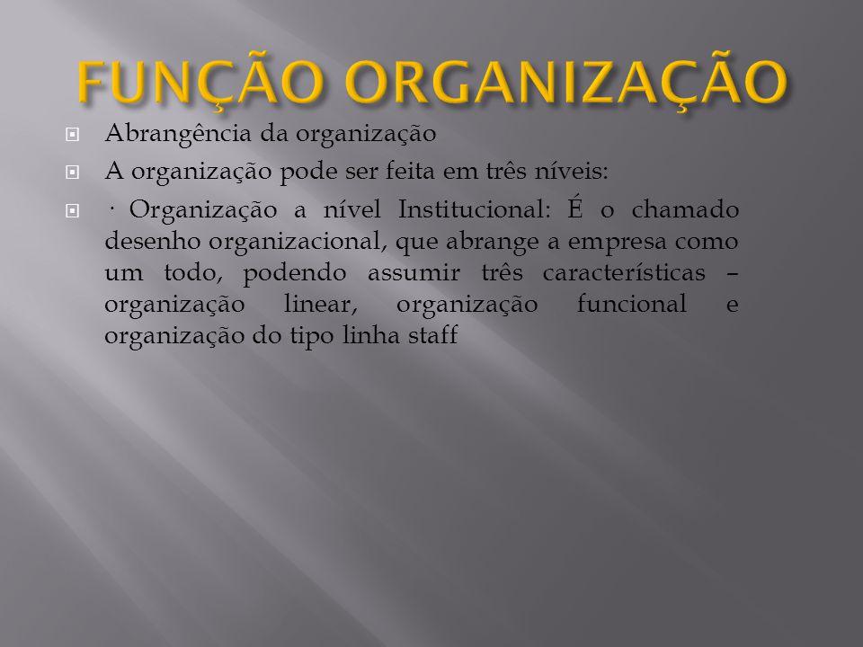 Abrangência da organização A organização pode ser feita em três níveis: · Organização a nível Institucional: É o chamado desenho organizacional, que a