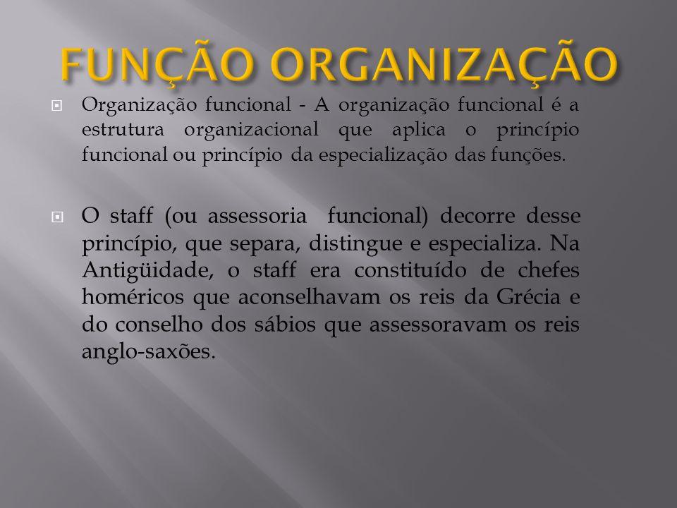 Organização funcional - A organização funcional é a estrutura organizacional que aplica o princípio funcional ou princípio da especialização das funçõ