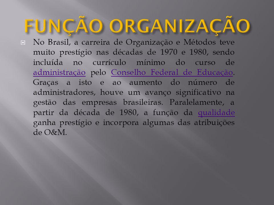 No Brasil, a carreira de Organização e Métodos teve muito prestígio nas décadas de 1970 e 1980, sendo incluída no currículo mínimo do curso de adminis