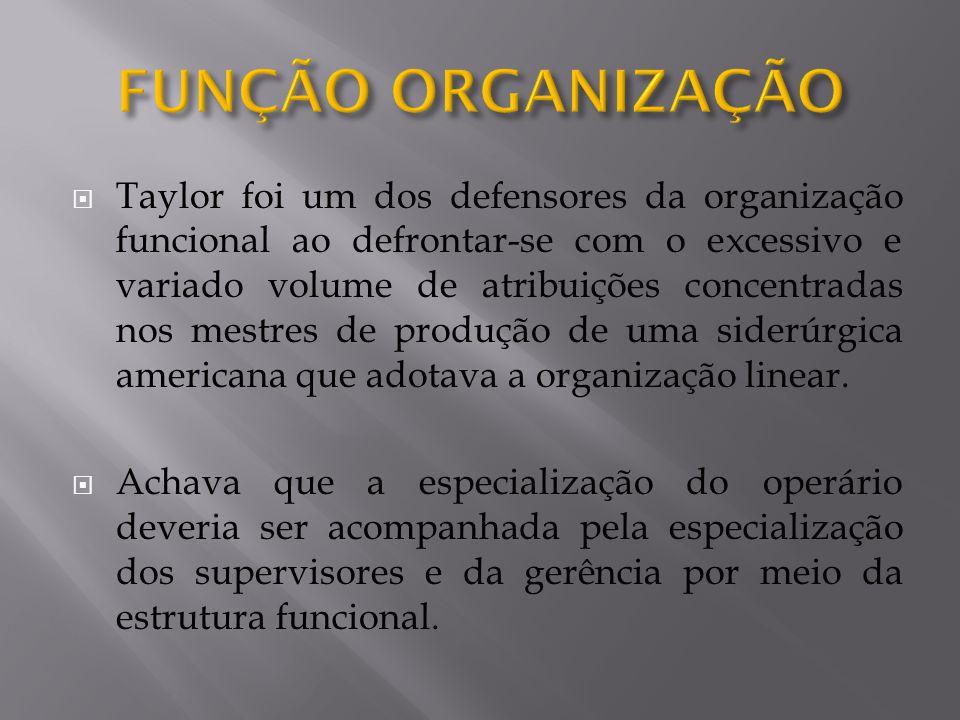 Taylor foi um dos defensores da organização funcional ao defrontar-se com o excessivo e variado volume de atribuições concentradas nos mestres de prod