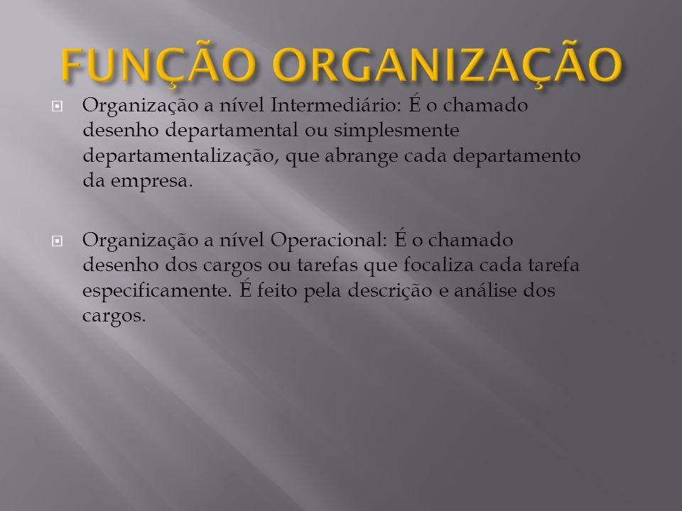 Organização a nível Intermediário: É o chamado desenho departamental ou simplesmente departamentalização, que abrange cada departamento da empresa. Or