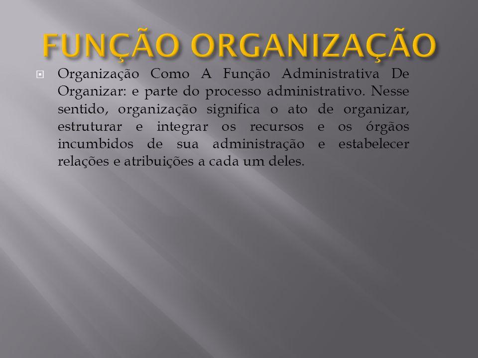 Organização Como A Função Administrativa De Organizar: e parte do processo administrativo. Nesse sentido, organização significa o ato de organizar, es