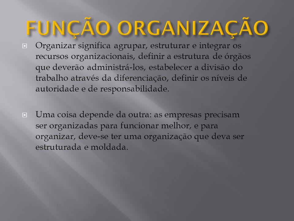 Organizar significa agrupar, estruturar e integrar os recursos organizacionais, definir a estrutura de órgãos que deverão administrá-los, estabelecer