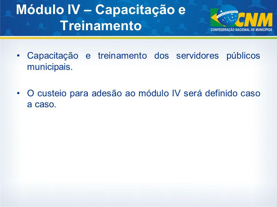 Módulo IV – Capacitação e Treinamento Capacitação e treinamento dos servidores públicos municipais.