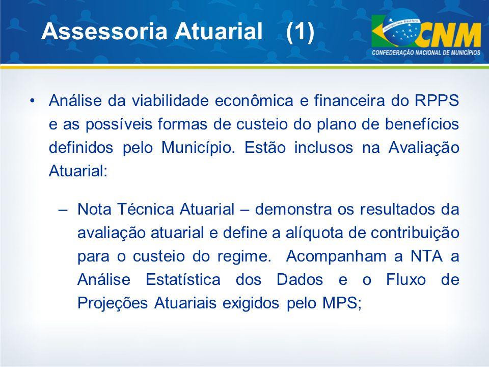 Assessoria Atuarial (1) Análise da viabilidade econômica e financeira do RPPS e as possíveis formas de custeio do plano de benefícios definidos pelo Município.