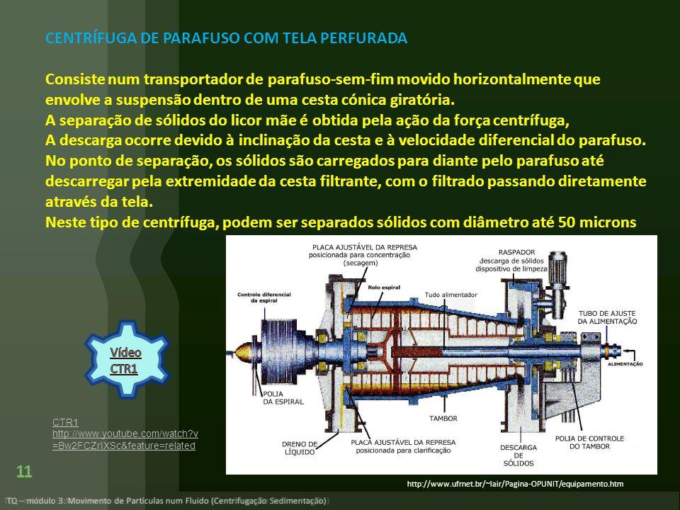 TQ – módulo 3: Movimento de Partículas num Fluido (Centrifugação Sedimentação) 11 http://www.ufrnet.br/~lair/Pagina-OPUNIT/equipamento.htm CENTRÍFUGA