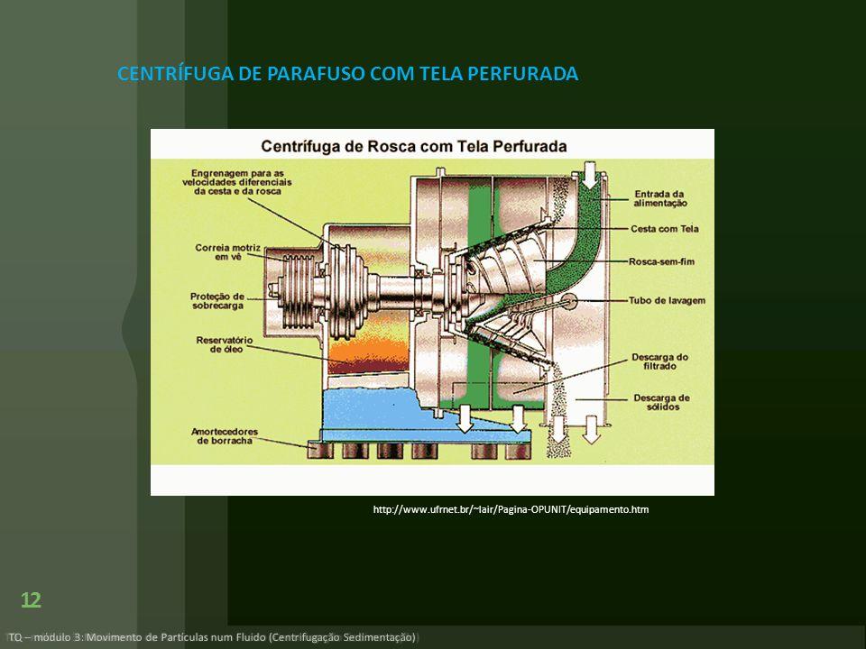 TQ – módulo 3: Movimento de Partículas num Fluido (Centrifugação Sedimentação) 12 http://www.ufrnet.br/~lair/Pagina-OPUNIT/equipamento.htm CENTRÍFUGA