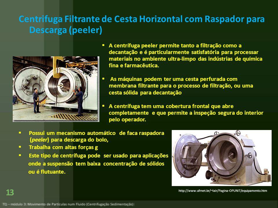 TQ – módulo 3: Movimento de Partículas num Fluido (Centrifugação Sedimentação) 13 Centrifuga Filtrante de Cesta Horizontal com Raspador para Descarga