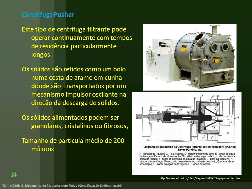 Centrífuga Pusher Este tipo de centrífuga filtrante pode operar continuamente com tempos de residência particularmente longos. Os sólidos são retidos