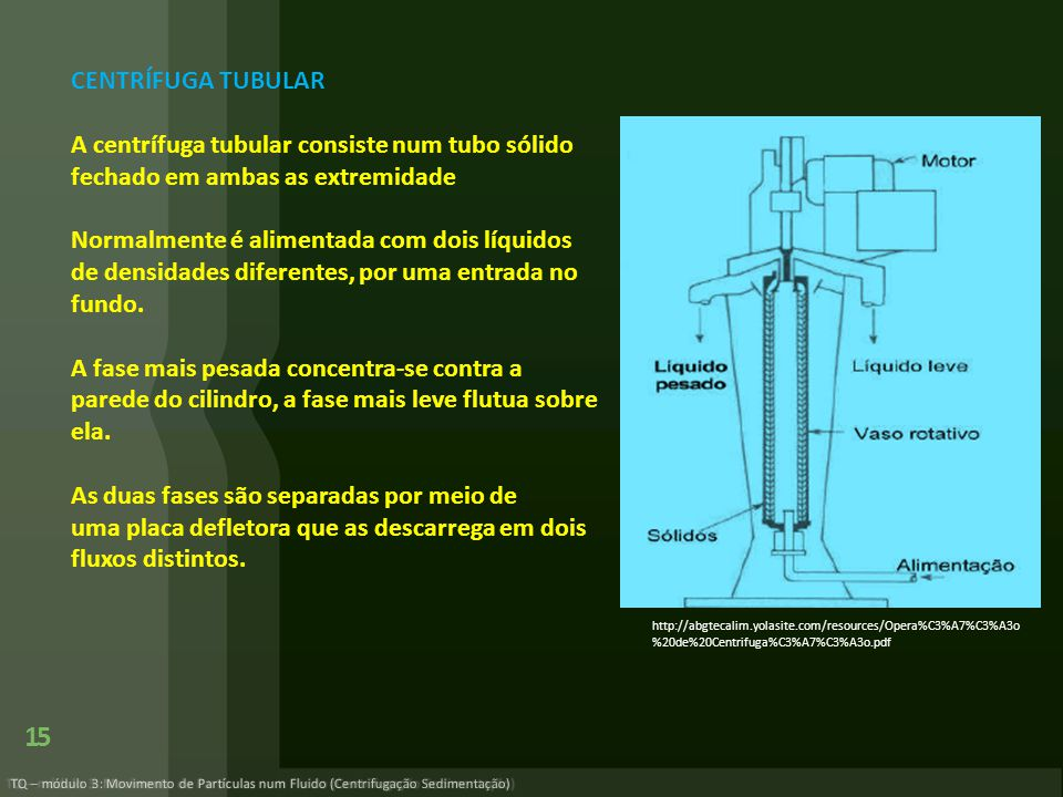 TQ – módulo 3: Movimento de Partículas num Fluido (Centrifugação Sedimentação) 15 http://abgtecalim.yolasite.com/resources/Opera%C3%A7%C3%A3o %20de%20