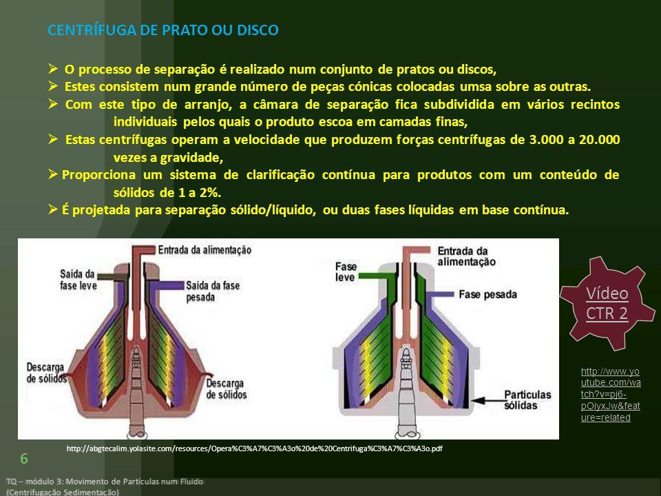 TQ – módulo 3: Movimento de Partículas num Fluido (Centrifugação Sedimentação) 6 CENTRÍFUGA DE PRATO OU DISCO O processo de separação é realizado num