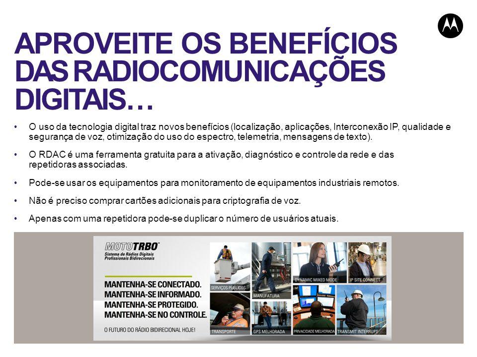APROVEITE OS BENEFÍCIOS DAS RADIOCOMUNICAÇÕES DIGITAIS… O uso da tecnologia digital traz novos benefícios (localização, aplicações, Interconexão IP, q