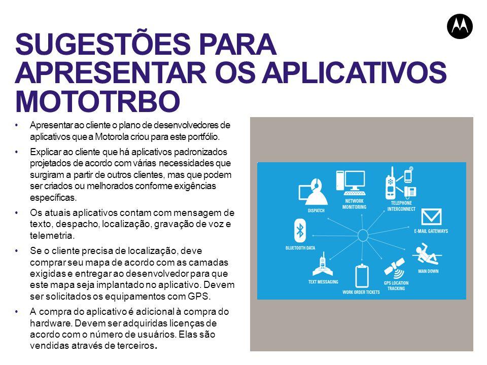 SUGESTÕES PARA APRESENTAR OS APLICATIVOS MOTOTRBO Apresentar ao cliente o plano de desenvolvedores de aplicativos que a Motorola criou para este portfólio.