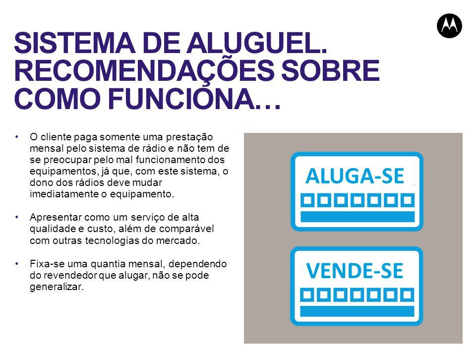 SISTEMA DE ALUGUEL. RECOMENDAÇÕES SOBRE COMO FUNCIONA… O cliente paga somente uma prestação mensal pelo sistema de rádio e não tem de se preocupar pel