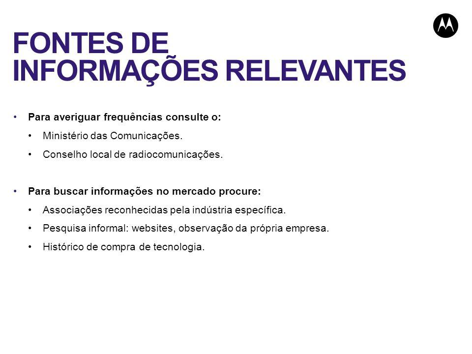 FONTES DE INFORMAÇÕES RELEVANTES Para averiguar frequências consulte o: Ministério das Comunicações.