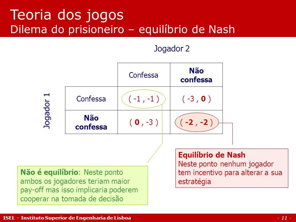 - 11 - Teoria dos jogos Dilema do prisioneiro – equilíbrio de Nash Jogador 2 Confessa Não confessa Confessa( -1, -1 )( -3, 0 ) Não confessa ( 0, -3 )(