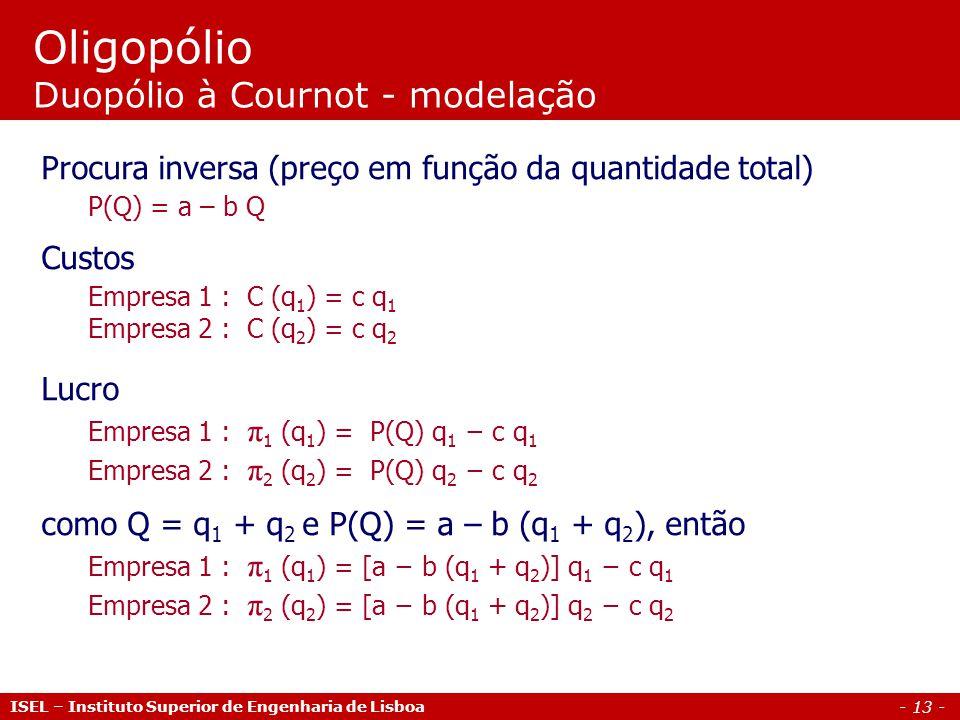 - 13 - Oligopólio Duopólio à Cournot - modelação Procura inversa (preço em função da quantidade total) P(Q) = a – b Q Custos Empresa 1 : C (q 1 ) = c