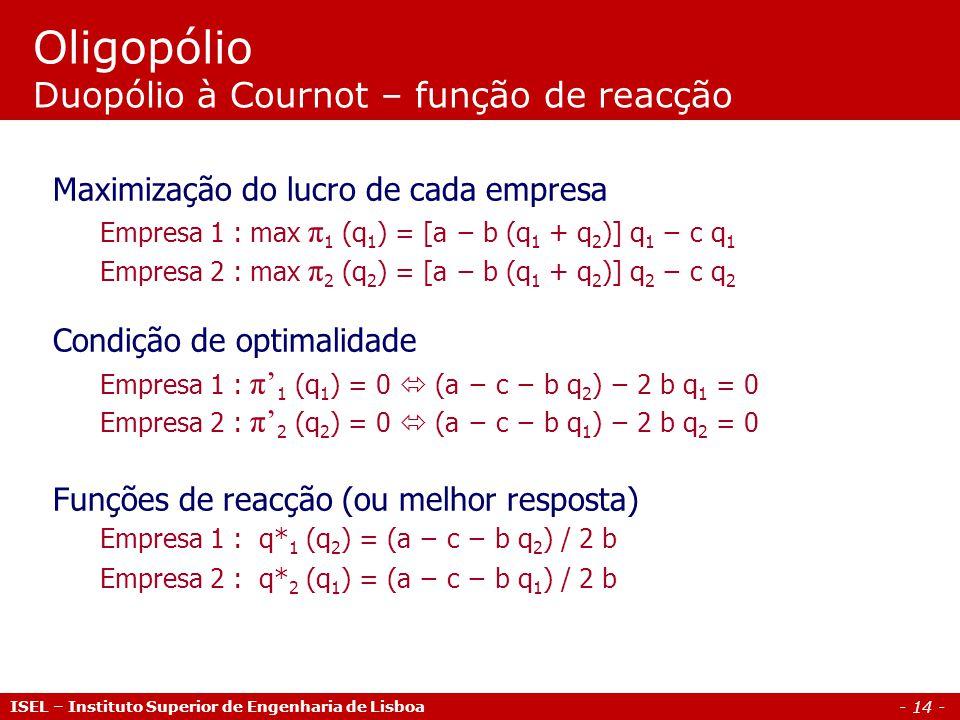 - 14 - Oligopólio Duopólio à Cournot – função de reacção Maximização do lucro de cada empresa Empresa 1 : max π 1 (q 1 ) = [a b (q 1 + q 2 )] q 1 c q