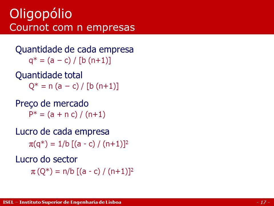 - 17 - Oligopólio Cournot com n empresas Quantidade de cada empresa q* = (a c) / [b (n+1)] Quantidade total Q* = n (a c) / [b (n+1)] Preço de mercado