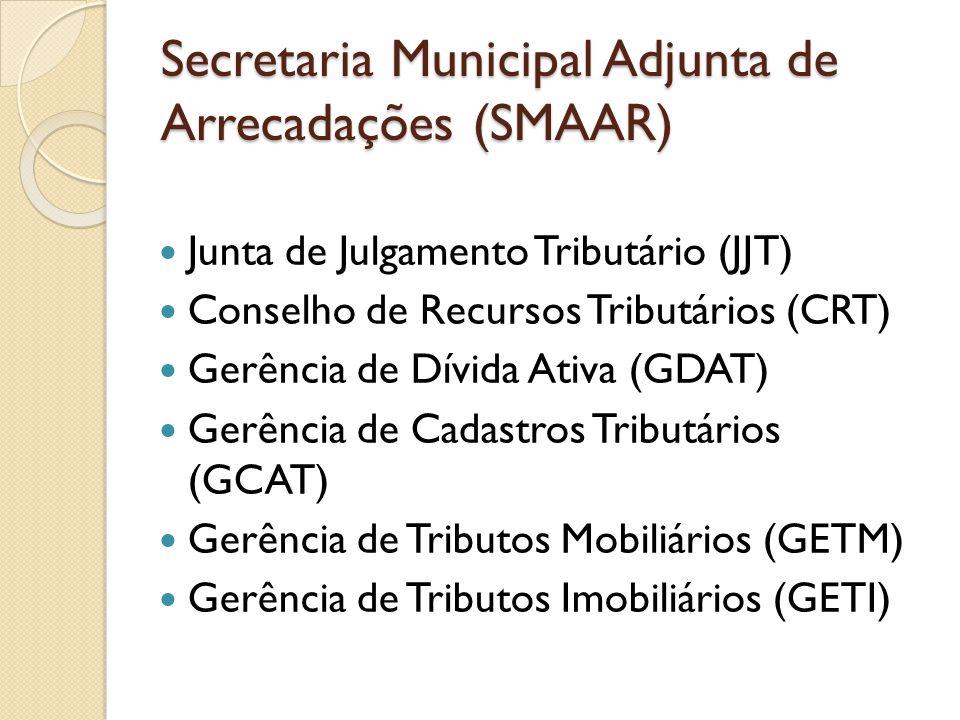 Junta de Julgamento Tributário (JJT) Conselho de Recursos Tributários (CRT) Gerência de Dívida Ativa (GDAT) Gerência de Cadastros Tributários (GCAT) G
