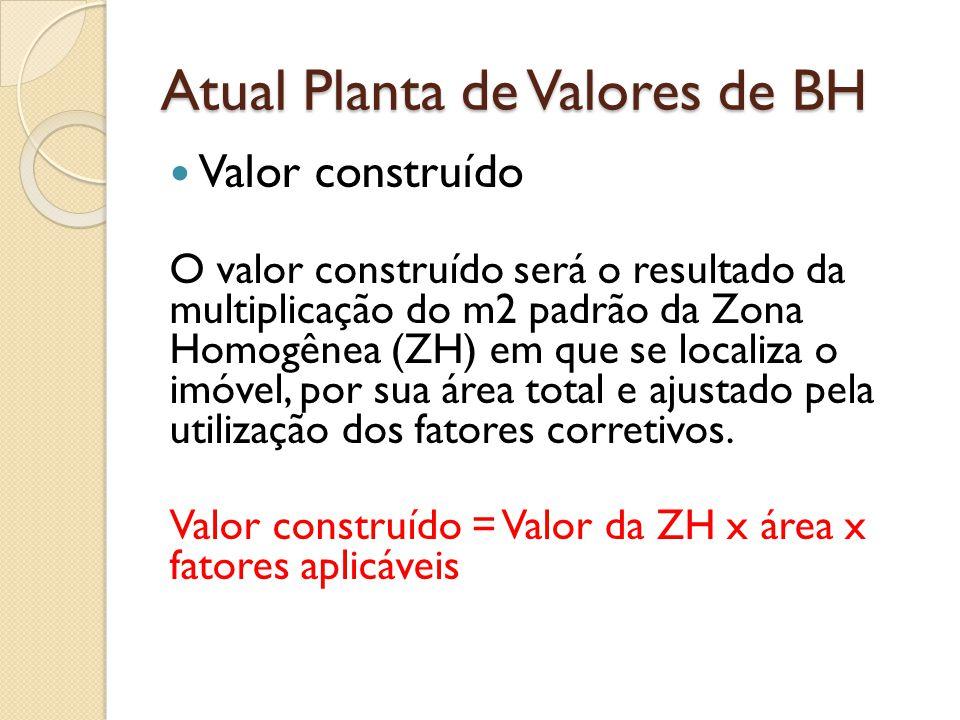 Atual Planta de Valores de BH Valor construído O valor construído será o resultado da multiplicação do m2 padrão da Zona Homogênea (ZH) em que se loca