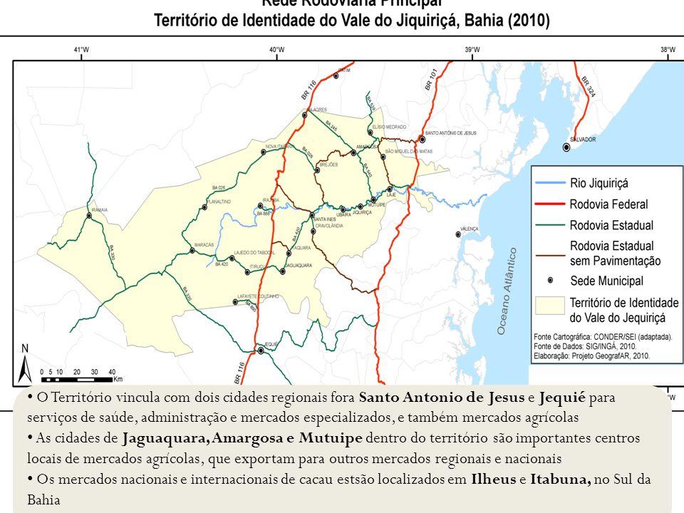 O Território vincula com dois cidades regionais fora Santo Antonio de Jesus e Jequié para serviços de saúde, administração e mercados especializados,