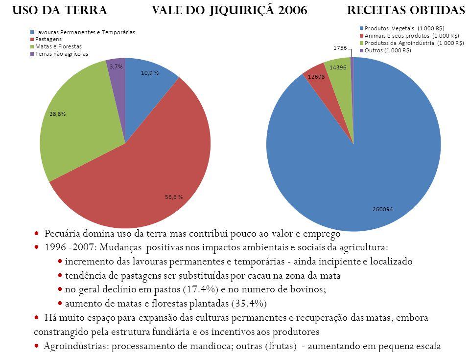 Uso da terra Vale do JiquiriÇá 2006 Receitas obtidas Pecuária domina uso da terra mas contribui pouco ao valor e emprego 1996 -2007: Mudanças positiva