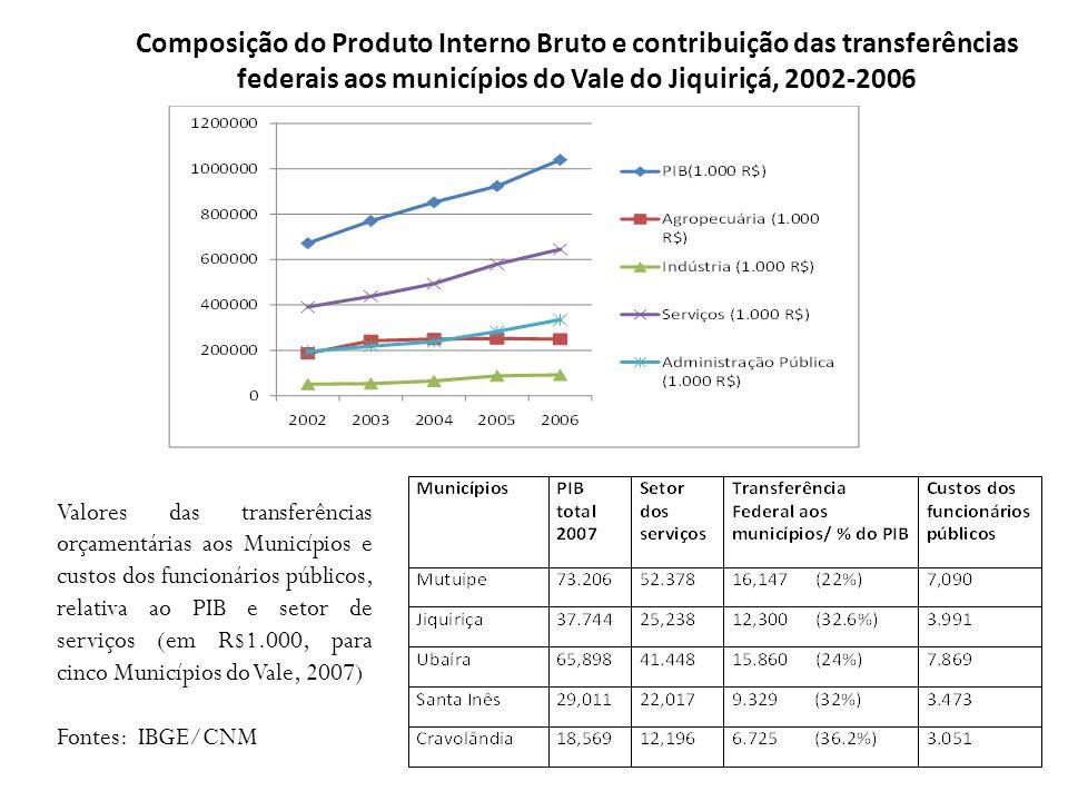 Composição do Produto Interno Bruto e contribuição das transferências federais aos municípios do Vale do Jiquiriçá, 2002-2006 Valores das transferênci